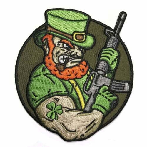 Irish Patch Leprechaun AR-15 Clothes Embroidered Moral Shamrock Ireland Military