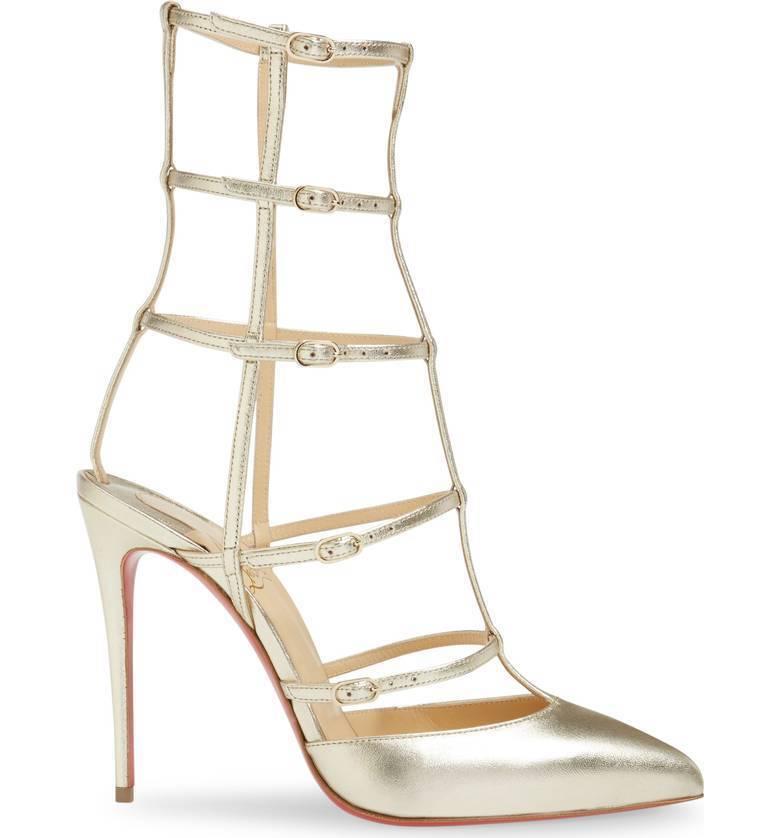 Christian Louboutin Kadreyana Cage Pump Pump Pump Metallic Pointed Toe Sandal shoes 36.5 c2542d