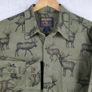 WOOLRICH-2XL-Mens-Thick-Flannel-Olive-Button-Down-Lodge-Shirt-Deer-Hunting-XXL