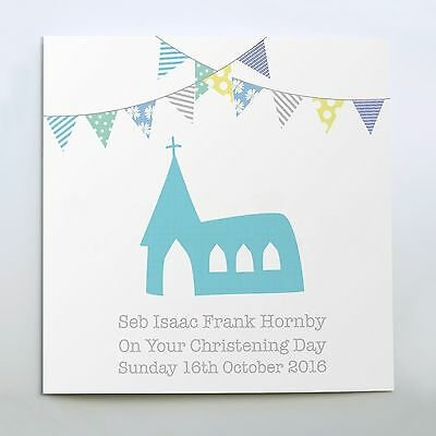 Personalised Christening Baptism Card New Baby Pink or Blue /'Church/' Any Name