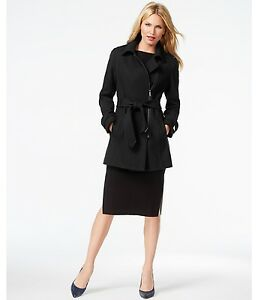 Kenneth-Cole-Asymmetrical-Zip-Belted-Trench-Women-039-s-Coat-Black-XS-NWT-MSRP-325