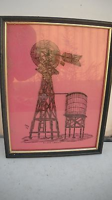 a pair of signed reverse paintings on glass,Eclipse windmill,bucket,dipper