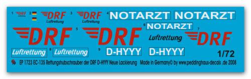 1//72 ep 1723 EC 135 Rettungshubschrauber der DRF D-HYYY Neue DRF Lackierung