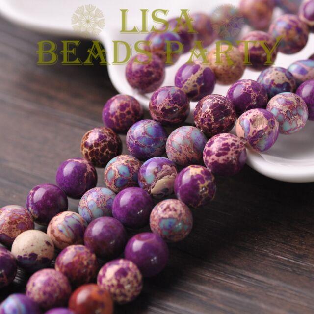 20pcs 10mm Round Natural Stone Loose Gemstone Beads Purple Imperial Jasper
