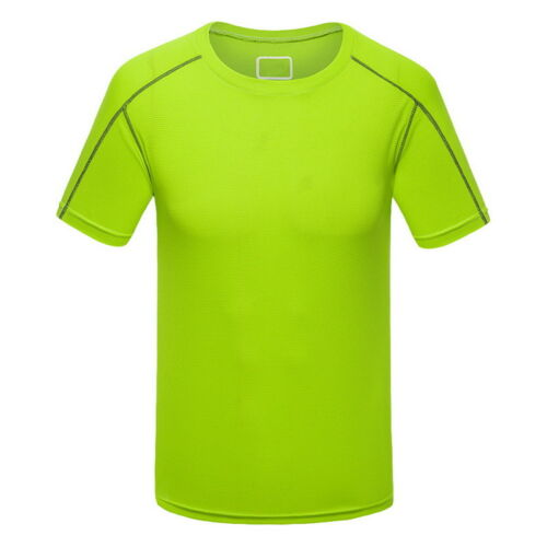 Mens Crew Neck Short Sleeve T-Shirts Quick-Dry Sport Fitness Running Boys Tops