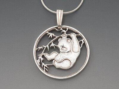 """7//8/"""" in Dia. # 66E Hand Cut Chinese Panda Bear Coins Panda Bear Earrings"""