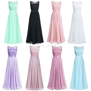 36acdc8213f1 Long Chiffon Formal Women Lace Dress Prom Evening Party Cocktail ...