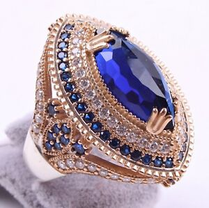 Turkish-Handmade-LUXURY-925-Silver-Sapphire-Stone-Ladies-Woman-Ring-ALL-S-ZE-US