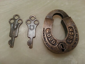 Horse-Shoe-Lock-Good-Luck-Solid-Brass-Lock-Two-Keys-Lucky-Charm-Wedding-Padlock