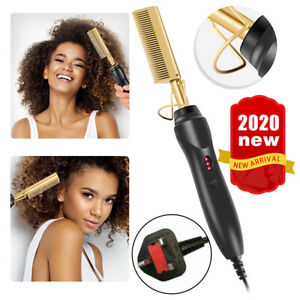Details about Electric Beard Hair Straightener Brush Comb Hair Flat Curling Iron Heated Hot