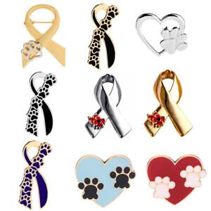 Paw-Print-Ribbon-Poppy-Bow-Brooch-Pins-Animal-Cruelty-Awareness-Cancer-Badge-Pin