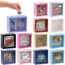 Large Wooden Money Boxes Piggy Bank Saver Box Coin Funds Savings Tin Gift Idea