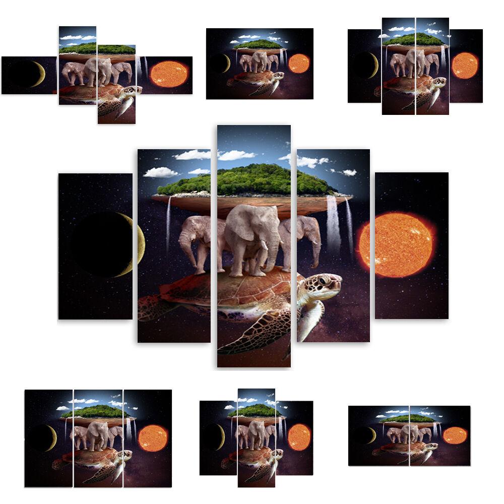 TOP LEINWAND BILD BILDER (54 Muster) MODERN HD ART Welt auf drei Elefanten 2180