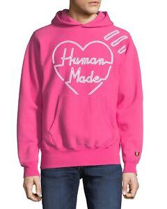 classic styles buy good presenting HUMAN MADE Nigo of Bathing Ape Heart Logo Hoodie Mens M Pink ...