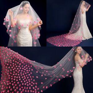Bride-Wedding-Tailing-Pink-Petals-Veils-Soft-Yarn-3-Meters-Long-One-Layer-Veil