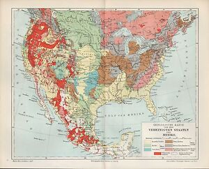 Map Map 1898: Geological Map of the USA and Mexico. U.S.A. Mexico | eBay