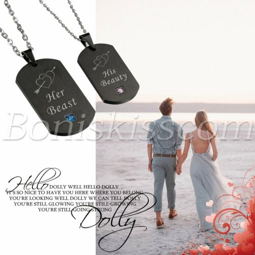 His Beauty Her Beast Crown Stainless Steel CZ Couples Dog Tag Pendant Necklace