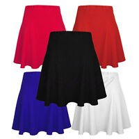 Ladies Womens Elasticated Waffle Woven Flared Mini Party Dress Skater Skirt
