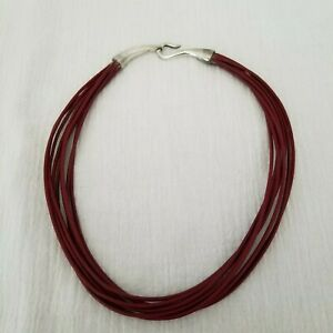 Sterling-Silver-9-Strand-Dark-Red-Leather-Cord-16-034-Choker-Necklace