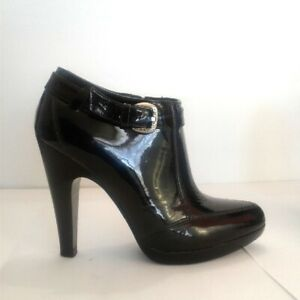 best wholesaler super popular on feet images of Anne Klein Black Ankle Boots Patent Leather Heeled Ankle High Heel ...