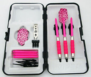 Pink Leopard Slim Rubberized Sure Grip Soft Tip Dart Set + Case 16 gram - 3