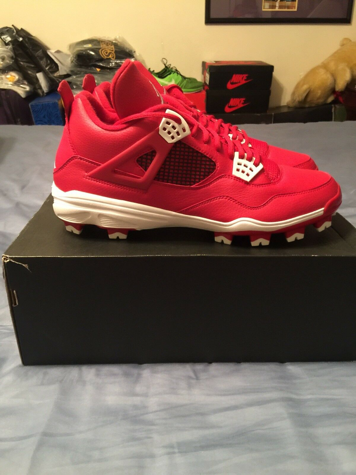Nike Air Jordan Retro IV Gym Red Baseball Cleats sz 13 LIMITED SOLD OUT