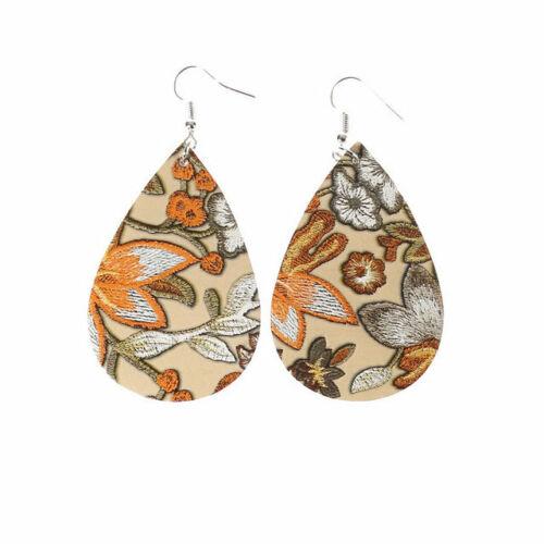 Fashion Women/'s Teardrop en cuir synthétique broderie fleurs plante Pendants d/'oreilles