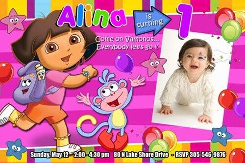Dora The Explorer Birthday Party Invitation 1st Custom Invite Diego