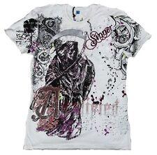 Amplified SAINT&SINNER REAPER Sensenmann Skull Rock Star Strass T-Shirt g.L/XL