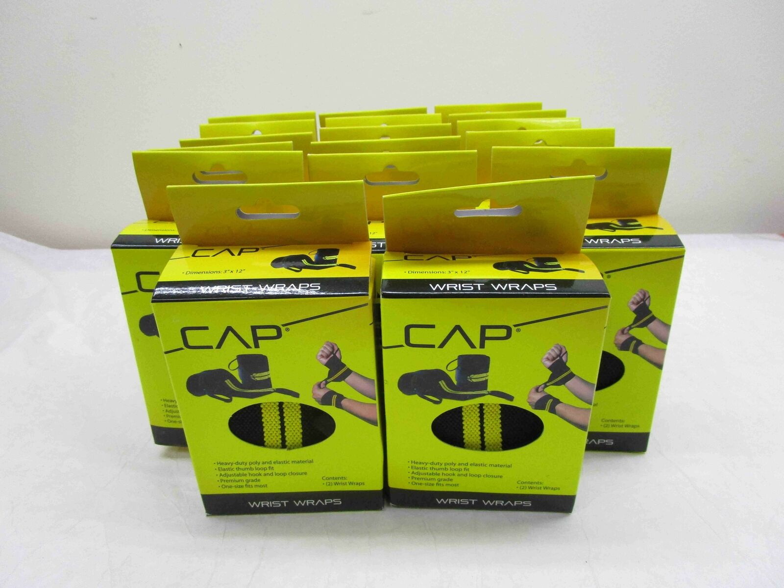 CAP Barbell Wrist Wrap with Thumb Loop, Pair, HHSA-CB010, Multi,  See Desc NEW