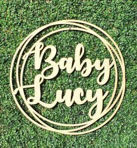 90cm Baby Shower Sign nursery Personalised Baby Name Wood Wall Hoop 30cm