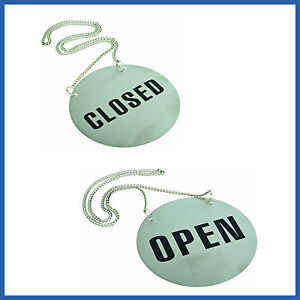 1 x Open Closed Stainless Steel  Shop  Sign Restaurant Hang  Metal Chain  SYDNEY