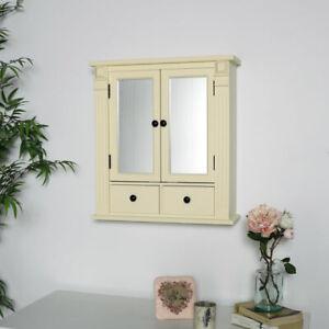 cream wood mirrored bathroom cabinet shelving storage