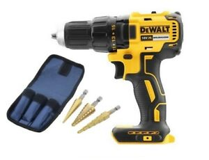 DeWalt-DCD777N-18v-XR-Brushless-Drill-Driver-Body-3pc-HSS-Step-Drill-Set