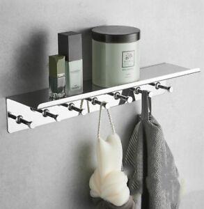 Stainless Steel304 Chrome Shower Storage Rack Bathroom Shelves With Seven Hooks Ebay