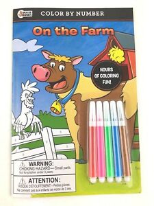 Mini Color By Number On The Farm Animals Coloring Book With Markers