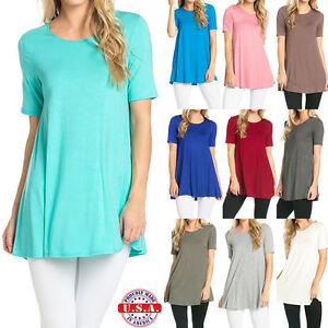 USA-Women-Long-Tunic-Length-Dress-Top-Short-Sleeve-Scoop-Neck-Shirt-S-M-L-XL