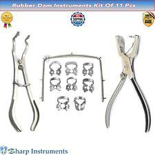 Rubber Dam Starter Kit 11 Pcs Steel Frame Punch Plier Clamps Dental Instruments