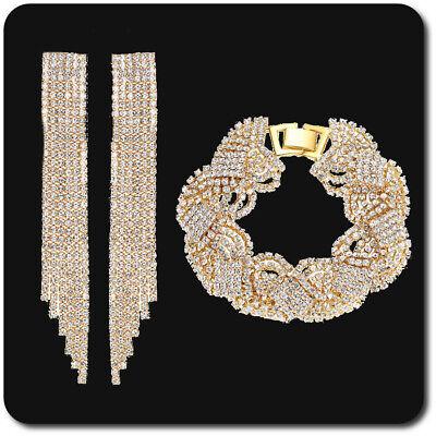 Generoso Lusso Schmuckset Bracciale Xxl Orecchini Catena Oro/chiaro Strass Sposa Matrimonio-mostra Il Titolo Originale