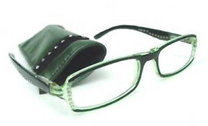 NEW READING GLASSES PRETTY DIAMANTE STUDS SPRUNG ARM GREEN +1.5