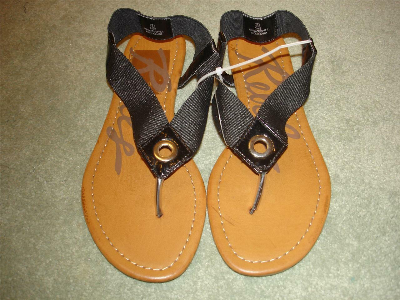 REBELS Flip Black Thong Toe Sandals Flip REBELS Flops Womens size 7 1/2   7.5  NEW c4eb9e
