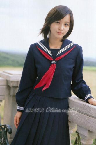 Japanese Japan School Girl Blue long-sleeved Uniform Cosplay Costume New T046