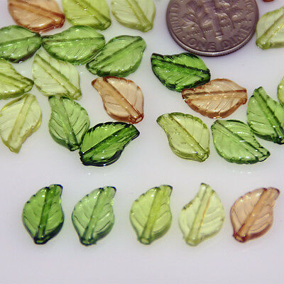 12.5x8mm Mixed Natural Green Leaves Plastic Translucent Beads p175 (50pcs)