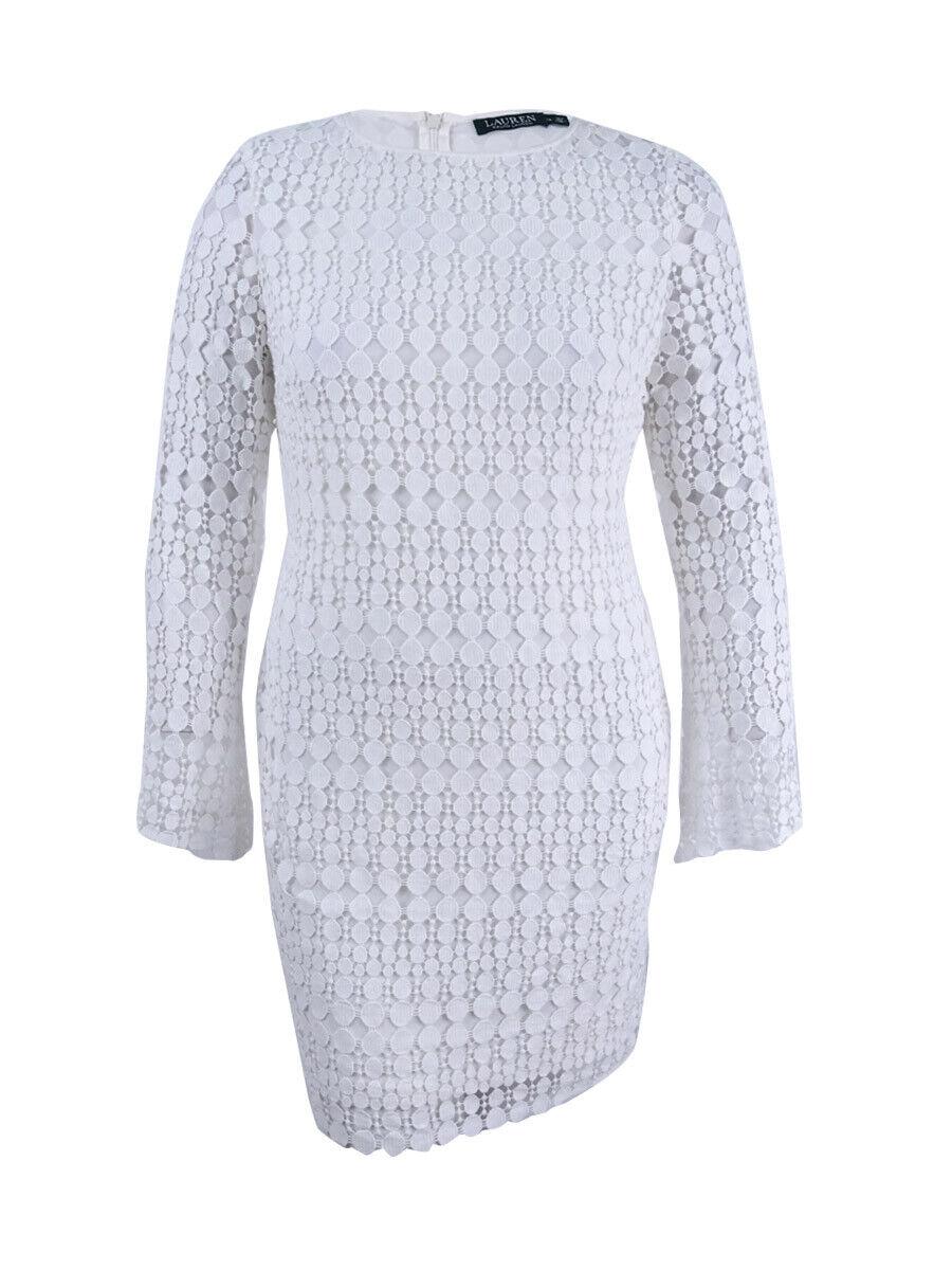 Vestido de Encaje  Lauren Ralph Lauren Para Mujeres Geométrico cushine (12, blancoo)  Con 100% de calidad y servicio de% 100.