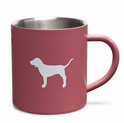 NIB VICTORIA/'S SECRET PINK COFFEE MUG CUP DOG LOGO SOFT BEGONIA STAINLESS STEEL