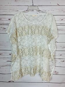 Ryu Anthropologie Women's S Small Ivory Sheer Floral Lace Cute Spring Poncho Top
