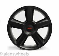 "4 Chevy Suburban Tahoe Ltz Matte Black 22"" Wheels Rims Red Bowtie 5308"