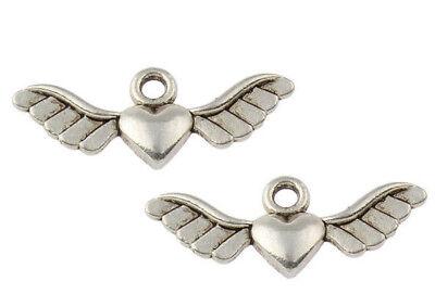 20 Flügel Engel Mit Herz Metallperlen 22mm Zwischenteile Spacer Schmuck M437