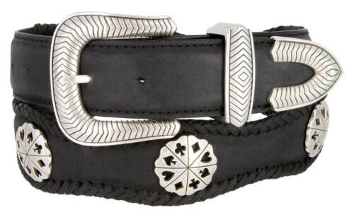 "Poker Deal Striped Cowboy Mens Western Leather Belt 1-1//2/"" Wide Black Brown New"