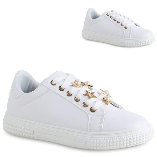 Damen Sneaker Low Leder-Optik Turnschuhe Schnürer Flats 821864 Schuhe